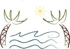 De pictogrammen van de zomer (v): Palmen Stock Foto