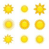 De pictogrammen van de zon Royalty-vrije Stock Foto's