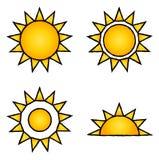 De pictogrammen van de zon Stock Foto's
