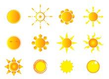 De pictogrammen van de zon royalty-vrije illustratie