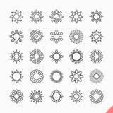De pictogrammen van de zon Stock Afbeelding