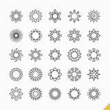 De pictogrammen van de zon Stock Foto