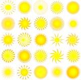 De pictogrammen van de zon Stock Fotografie