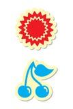 De Pictogrammen van de zon en van de Kers vector illustratie