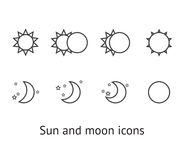 De pictogrammen van de zon en van de maan Stock Foto