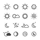 De pictogrammen van de zon en van de maan Royalty-vrije Stock Afbeelding