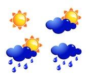 De pictogrammen van de zon en van de regen vector illustratie