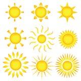 De pictogrammen van de zon. Vector illustratie Royalty-vrije Stock Afbeeldingen