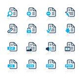 De Pictogrammen van documenten - 1 Azuurblauwe Reeks van // Royalty-vrije Stock Afbeeldingen