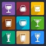 De pictogrammen van drankglazen plaatsen 16 stock illustratie