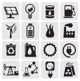 De pictogrammen van Eco voor schone energie Stock Foto's