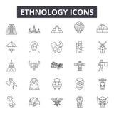 De pictogrammen van de de etnologielijn voor Web en mobiel ontwerp De tekens van de Editableslag Het conceptenillustraties van he vector illustratie