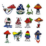 De pictogrammen van fantasiepaddestoelen Royalty-vrije Stock Fotografie