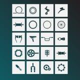 De pictogrammen van fietsdelen Stock Afbeelding