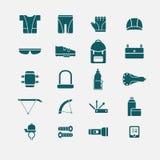 De pictogrammen van fietstoebehoren Royalty-vrije Illustratie