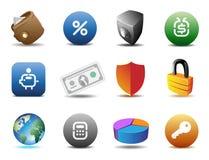De pictogrammen van financiën en van de veiligheid vector illustratie