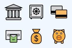 De pictogrammen van financiën en van de bank Stock Foto's