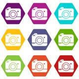 De pictogrammen van de fotocamera plaatsen vector 9 Royalty-vrije Stock Afbeeldingen
