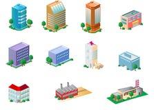 De pictogrammen van gebouwen Stock Afbeelding