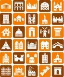De pictogrammen van gebouwen Royalty-vrije Stock Foto's