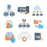 De Pictogrammen van de gegevensverbinding Geplaatst Gegevensbestand van de de Beschermings het Ontvangende Server van de Wolkenco Stock Fotografie