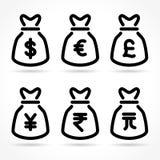 De pictogrammen van de geldzak op witte achtergrond Stock Afbeelding