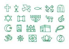 De pictogrammen van godsdienstsymbolen geplaatst die met viltpen worden getrokken Royalty-vrije Stock Foto's