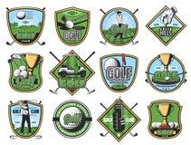 De pictogrammen van de golfsport, golfspeler en sportieve punten royalty-vrije illustratie