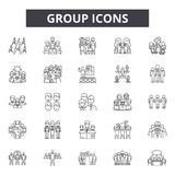 De pictogrammen van de groepslijn voor Web en mobiel ontwerp De tekens van de Editableslag Het conceptenillustraties van het groe royalty-vrije illustratie