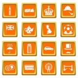 De pictogrammen van Groot-Brittannië geplaatst oranje Stock Afbeeldingen