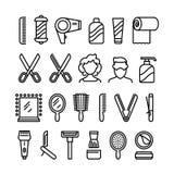 De Pictogrammen van de haarsalon Mooie kapsel en kapsel vectorlijnsymbolen royalty-vrije illustratie