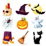 De pictogrammen van Halloween Stock Foto's