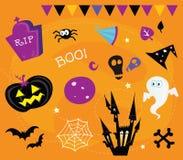 De pictogrammen van Halloween en ontwerpelementen Stock Fotografie