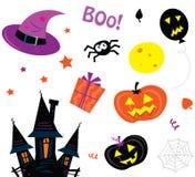 De pictogrammen van Halloween geplaatst die op wit worden geïsoleerd Stock Afbeeldingen