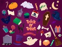 De pictogrammen van Halloween Reeks ontwerpelementen Stock Foto