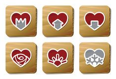 De pictogrammen van harten | De reeks van het karton Stock Afbeelding