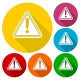 De pictogrammen van het de aandachtsteken van de gevaarwaarschuwing die met lange schaduw worden geplaatst Royalty-vrije Stock Afbeelding