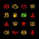De pictogrammen van het autodashboard Stock Foto