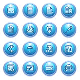 De pictogrammen van het bankwezen op blauwe knopen. Stock Foto
