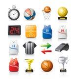 De pictogrammen van het basketbal Stock Afbeeldingen