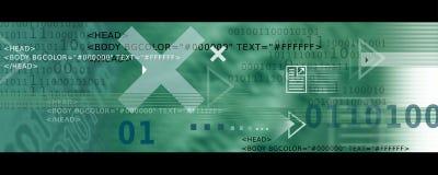 De Pictogrammen van het Beeld/van Internet van de banner, Pijlen + de code van HTML stock illustratie