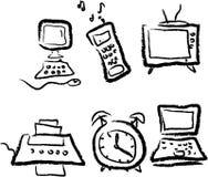 De pictogrammen van het beeldverhaal - moderne technologie Stock Afbeeldingen