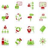 De pictogrammen van het beheer - groen-rode reeks Stock Afbeelding