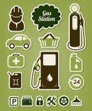 De pictogrammen van het benzinestation Royalty-vrije Stock Foto's