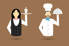 De pictogrammen van het beroepskarakter Kelner, Chef-kok Vector illustratie Royalty-vrije Stock Afbeeldingen