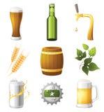 De pictogrammen van het bier Stock Afbeelding