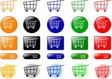 De pictogrammen van het boodschappenwagentje Stock Afbeeldingen