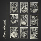 De pictogrammen van het bordmenu - Maaltijd Stock Afbeelding
