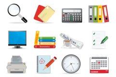 De pictogrammen van het bureau Stock Afbeeldingen