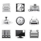 De pictogrammen van het bureau | B&W reeks Stock Afbeeldingen